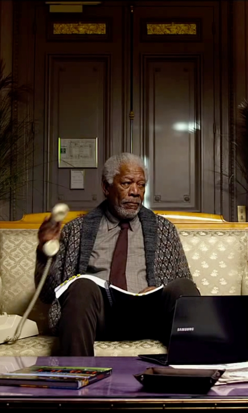 Morgan Freeman with Kiton Cashmere/Silk Woven Tie in Lucy