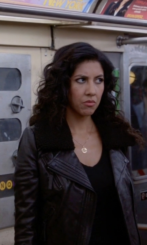 Stephanie Beatriz with Michael Michael Kors Faux Shearling Collar Leather Moto Jacket in Brooklyn Nine-Nine