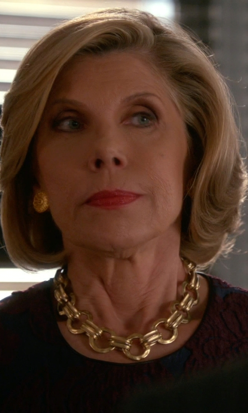Christine Baranski with Comme Des Garçons Lace Print T-Shirt in The Good Wife