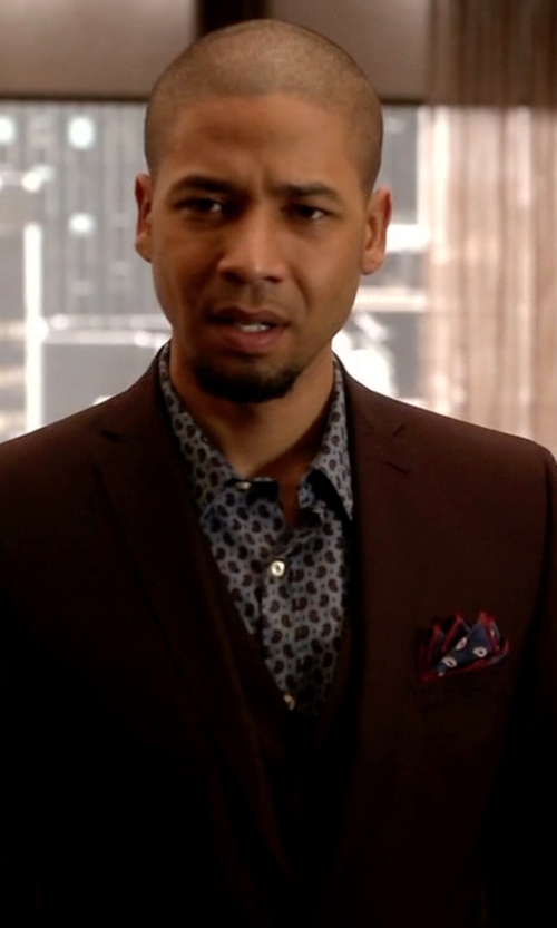 Jussie Smollett with Daniel Dolce Paisley Silk Reversible Pocket Square in Empire
