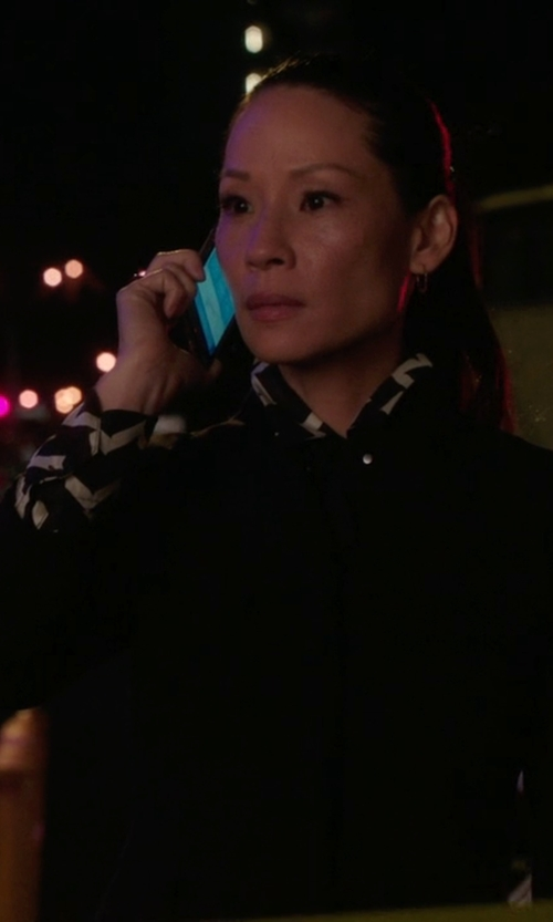 Lucy Liu with Nero Ink Single-Breasted Blazer in Elementary