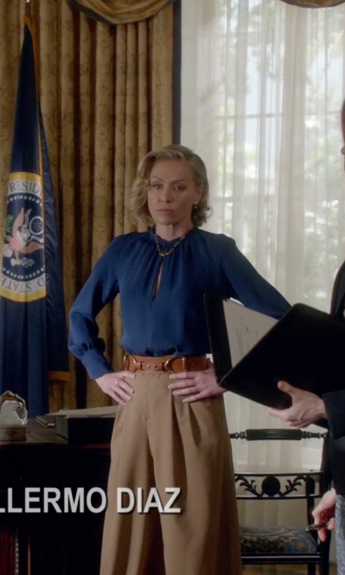 Portia de Rossi with Mason by Michelle Mason Chiffon Crossover Front Blouse in Scandal