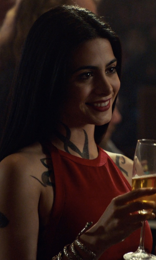 Emeraude Toubia with Guess 'Katia' Bandage Dress in Shadowhunters