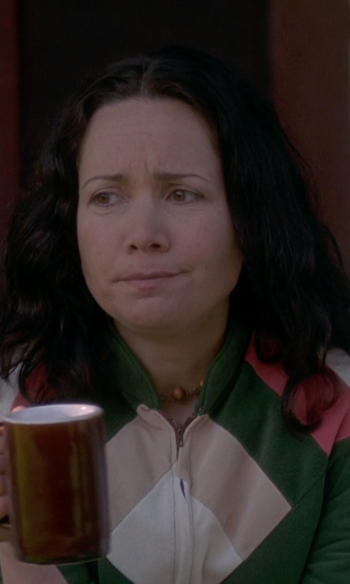 Janeane Garofalo with Wool Overs Lambswool Lincoln Zip Up Cardigan in Wet Hot American Summer