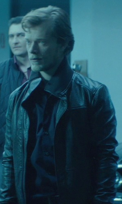 Alfie Allen with Versace Jeans Men's Leather Biker Jacket in John Wick