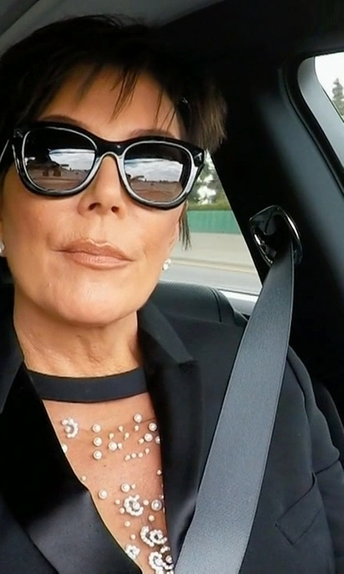 Kris Jenner with Givenchy Embellished Sheer Top in Keeping Up With The Kardashians