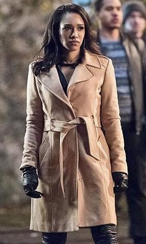 Candice Patton with Chelsea28 Belted Crepe Trench Coat in The Flash