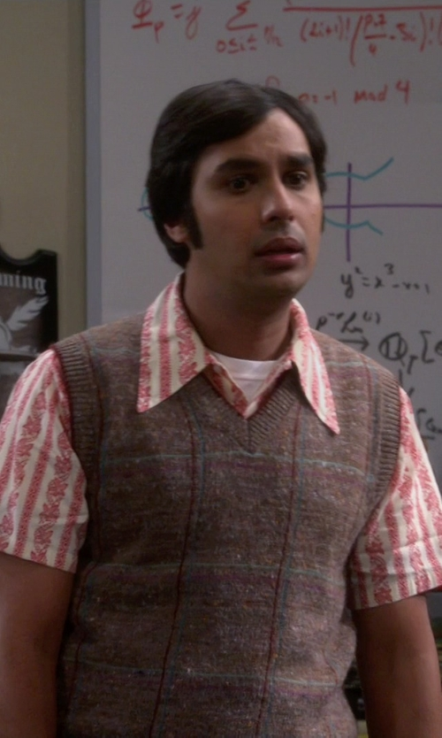 Kunal Nayyar with Club Room Merino Textured Argyle Vest in The Big Bang Theory