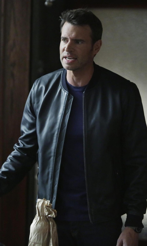 Scott Foley with Asos Bellfield Leather Bomber Jacket in Scandal