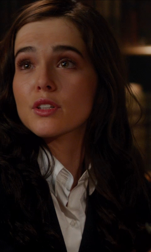 Zoey Deutch with Brooks Brothers Tailored Fit Dress Shirt with Glass Buttons in Vampire Academy