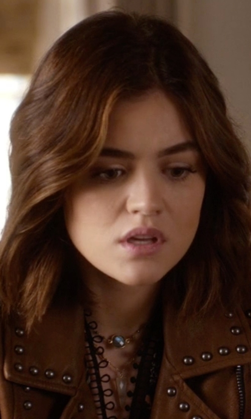 Lucy Hale with Elise M. Cantenbury Pave Agate Necklace in Pretty Little Liars