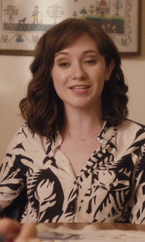 Noël Wells with Rebecca Taylor Long Sleeve Botanical Print Silk Blouse in Master of None
