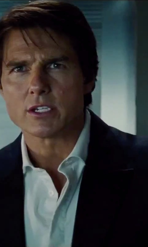 Tom Cruise with Armani Collezioni Peak-Lapel Virgin Wool Tuxedo in Mission: Impossible - Rogue Nation