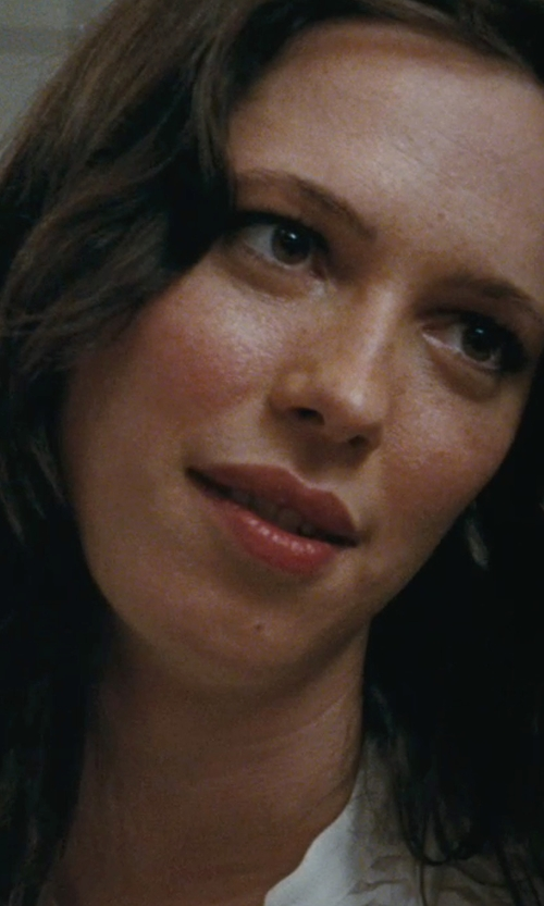 Rebecca Hall with Vince Drape-Front Silk Blouse in The Town