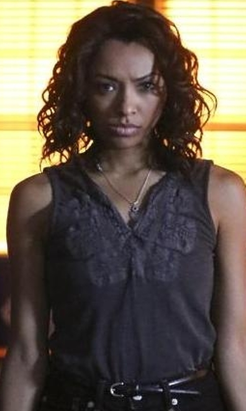 Kat Graham with Lucky Brand Embroidered Bib Tank Top in The Vampire Diaries