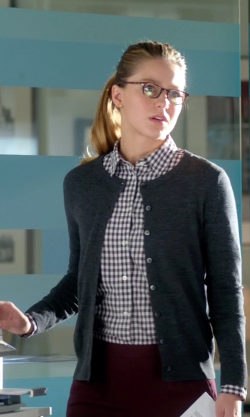 Melissa Benoist with Neiman Marcus Cashmere Button-Front Cardigan in Supergirl