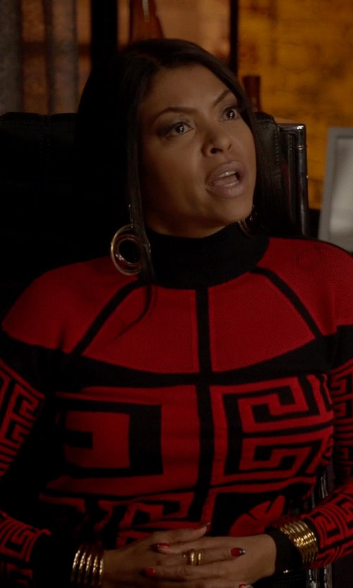 Taraji P. Henson with Versace '#Greek' Sweater With A Cut Out Detail in Empire
