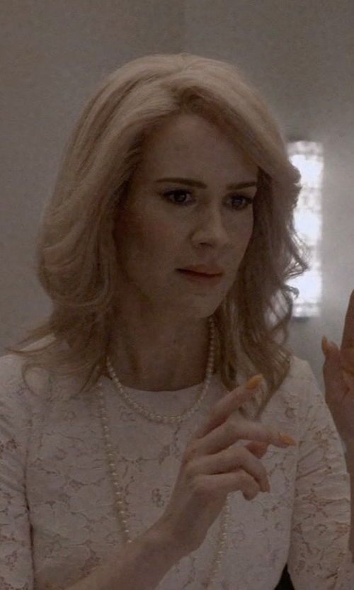 Sarah Paulson with Sue Wong Lace Sheath Cocktail Dress in American Horror Story