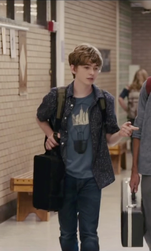 Austin Abrams with Briggs & Riley Small Slim Clamshell Briefcase in Paper Towns
