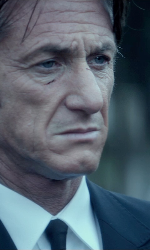 Sean Penn with Mr. Start Square Collar Poplin Shirt in The Gunman
