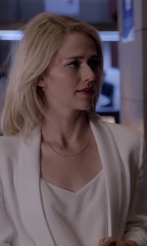 Johanna Braddy with Rebecca Minkoff 'Becky' Long Tuxedo Blazer in Quantico