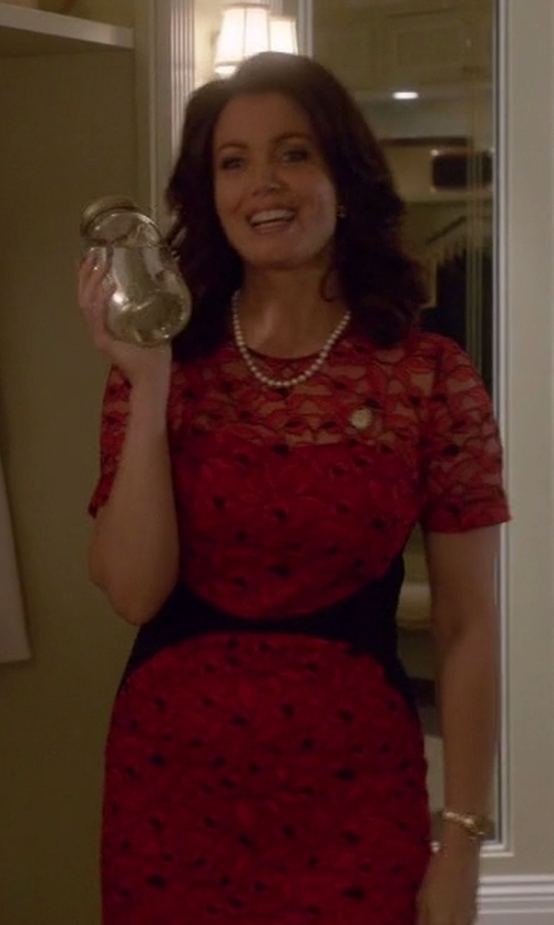 Bellamy Young with Lela Rose Fitted Lace Sheath Dress in Scandal