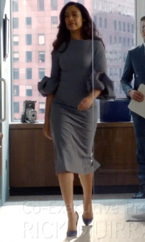 Gina Torres with Theory Ekundayo Long Fitted Knit Sheath Dress in Suits