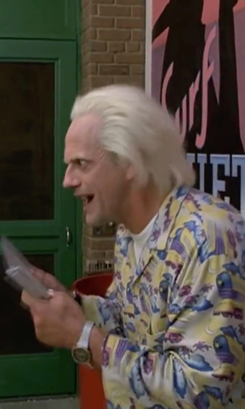 Christopher Lloyd with Diesel Double Down Chrono Watch in Back To The Future Part II