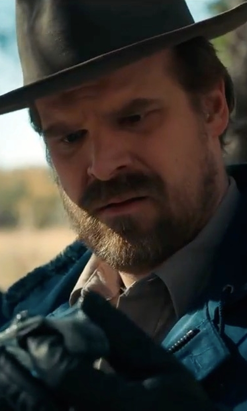 David Harbour with Brixton Thorpe Fedora Hat in Stranger Things