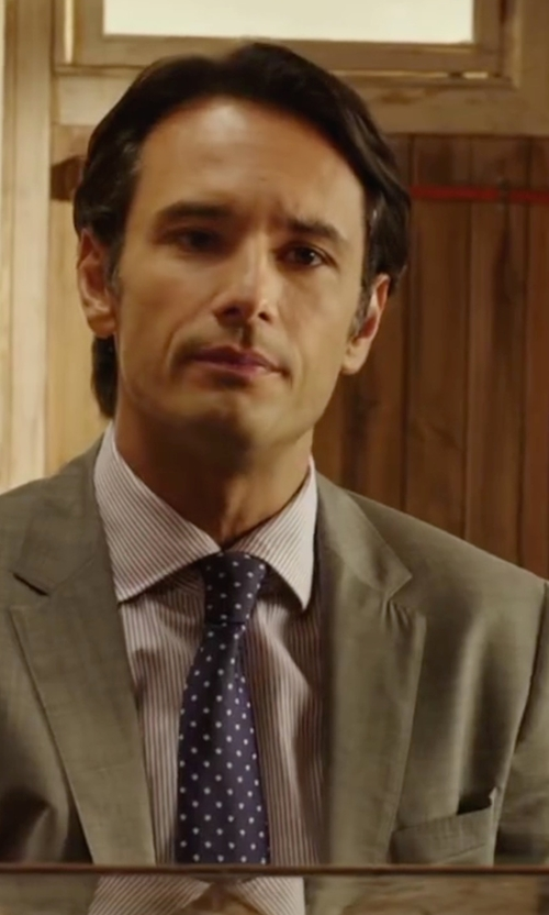 Rodrigo Santoro with Hugo Boss Polka Dot Silk Tie in The 33