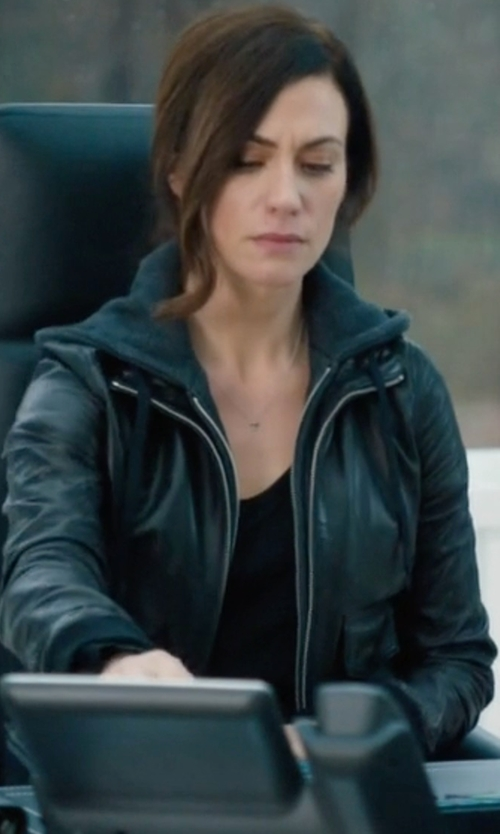 "Maggie Siff with R13 Hooded ""Flight"" Leather Jacket in Billions"