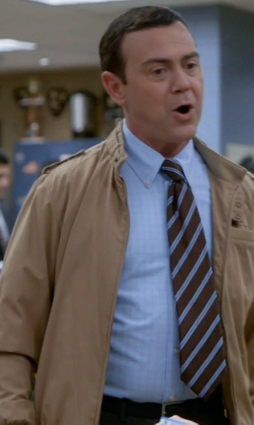 Joe Lo Truglio with Members Only Classic Iconic Racer Jacket in Brooklyn Nine-Nine