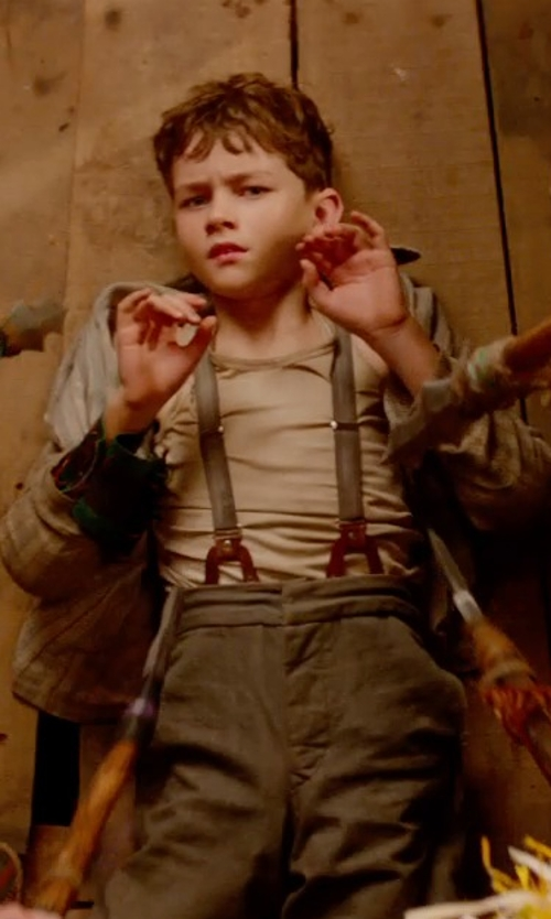 Levi Miller with CTM Kids Elastic Striped Leather Button-End Suspenders in Pan