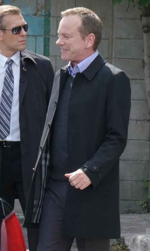 Kiefer Sutherland with Burberry Roeford Cotton-Gabardine Coat in Designated Survivor