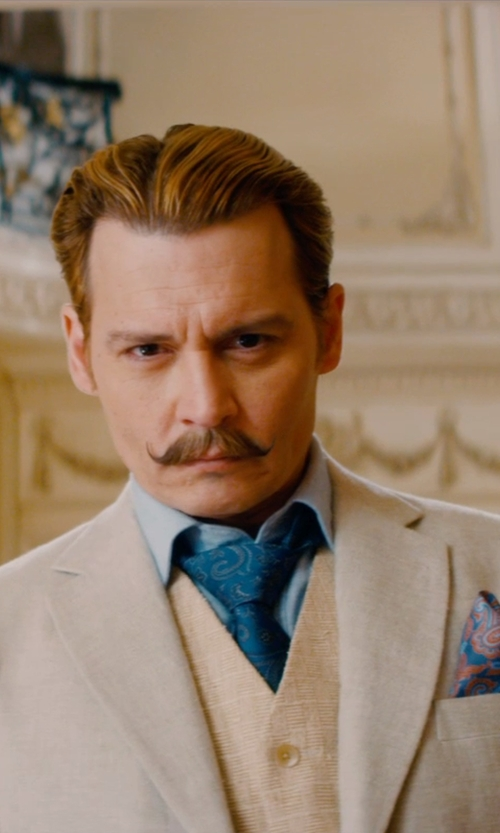 Johnny Depp with Ted Baker London Silk Pocket Square in Mortdecai
