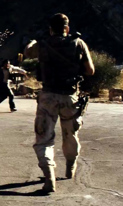 Taylor Kitsch with Southpole Men's Basic Cargo Long Camo Pants with Color Matching Belt in Savages