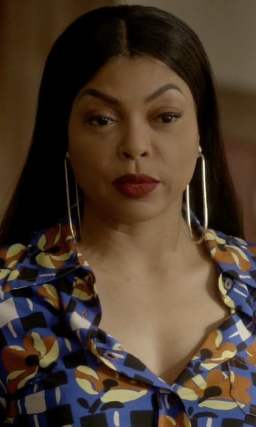 Taraji P. Henson with Jennifer Fisher Oval Shape Hoop Earrings in Empire