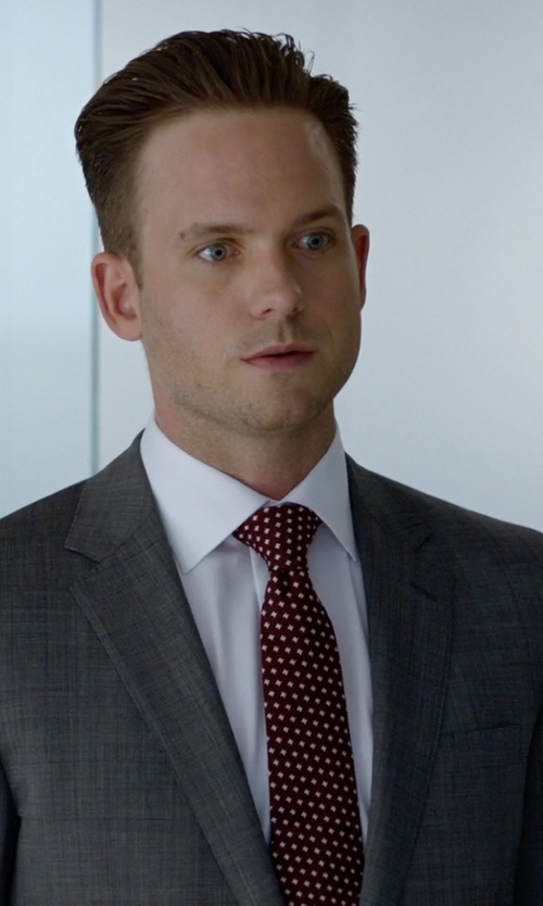 Patrick J. Adams with Ermenegildo Zegna Bordeaux Silk Dot Print Tie in Suits