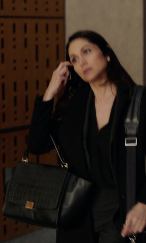 Lela Loren with Céline Large Trapeze Bag in Power