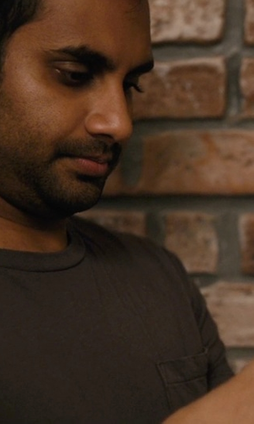 Aziz Ansari with Michael Stars Jersey Crewneck T-Shirt in Master of None
