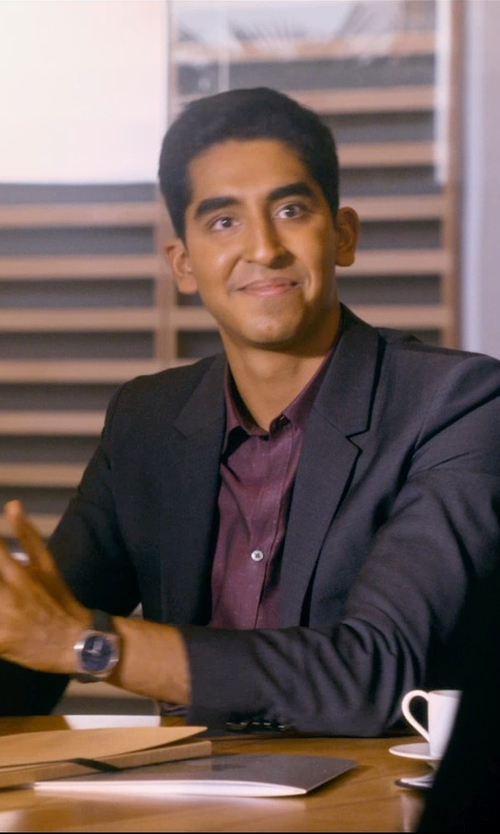 Dev Patel with Boss Hugo Boss Leather Strap Round Chronograph Watch in The Second Best Exotic Marigold Hotel
