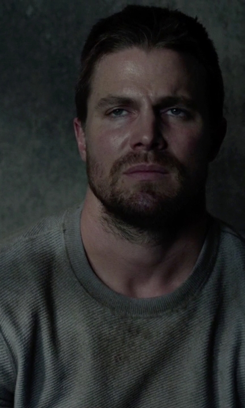 Stephen Amell with Rag & Bone Standard Issue Waffle Pullover Sweater in Arrow