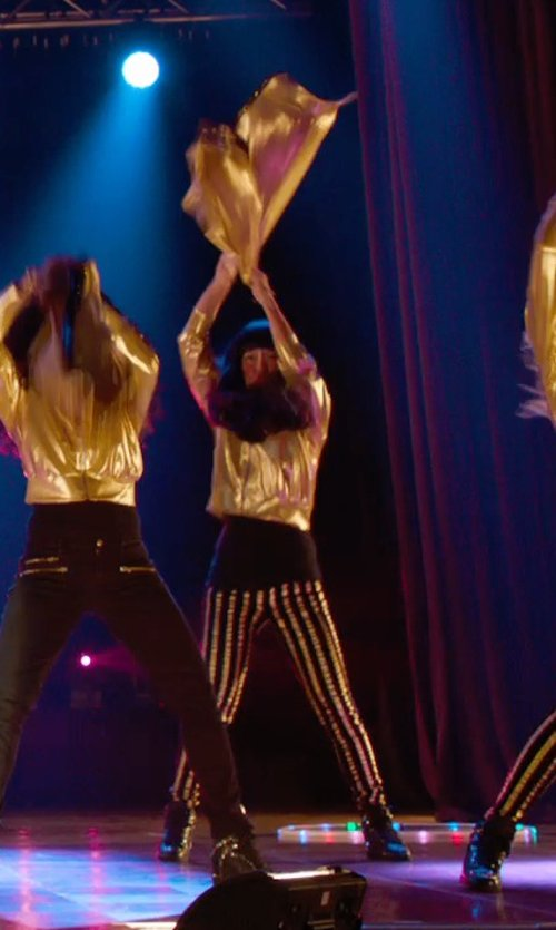 Hana Mae Lee with Forever21 Gold Glam Girl Striped Skinny Jeans in Pitch Perfect 2