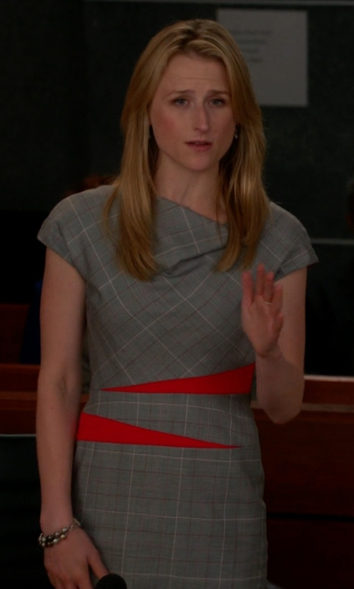 Mamie Gummer with Escada Draped Plaid Sheath Dress in The Good Wife
