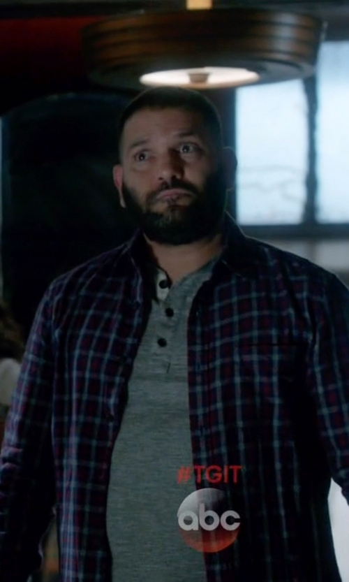Guillermo Díaz with Gitman Brothers Vintage Japanese Indigo Plaid Shirt in Scandal