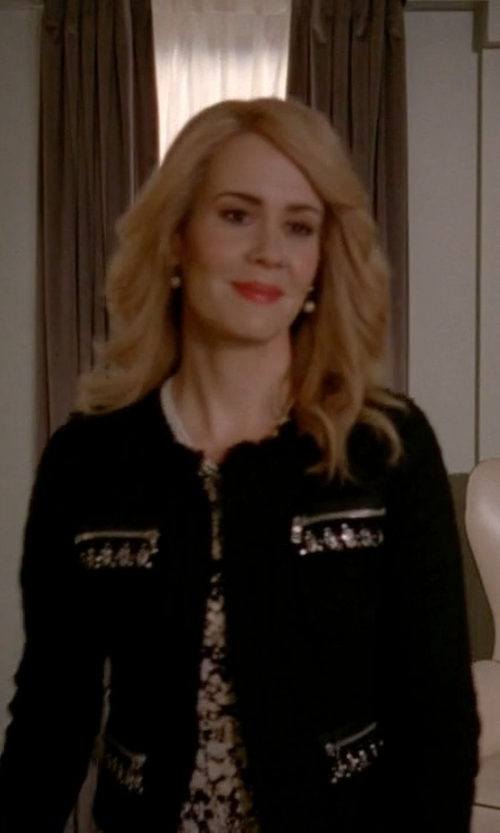 Sarah Paulson with Jason Wu Knit Zip-Front Cardigan in American Horror Story