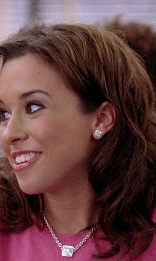 Lacey Chabert with Nordstrom Pavé Square Stud Earrings in Mean Girls