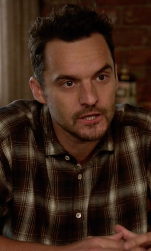 Jake Johnson with Filson Vintage Flannel Work Shirt in New Girl