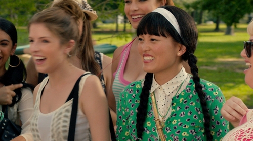 Hana Mae Lee with J.Crew White New Bow Polka Dot Button-Down Shirt in Pitch Perfect 2