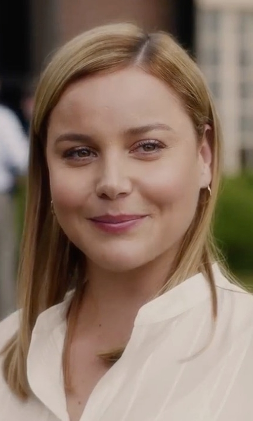 Abbie Cornish with Nordstrom Signature Stripe High/Low Shirt in Jack Ryan